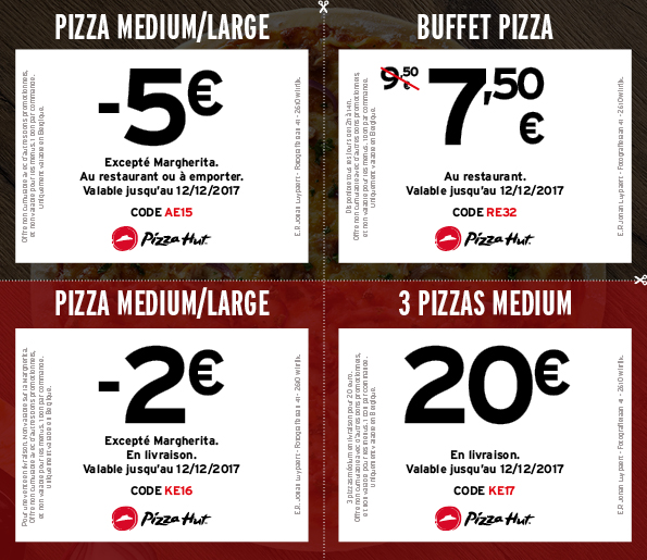 Bons de r duction pizza hut - Alinea bon de reduction ...